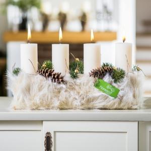 Adventní svícen  na stůl béžový