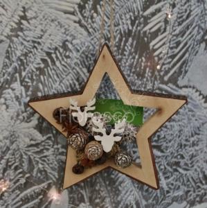 Vánoční dekorace na dveře přírodní