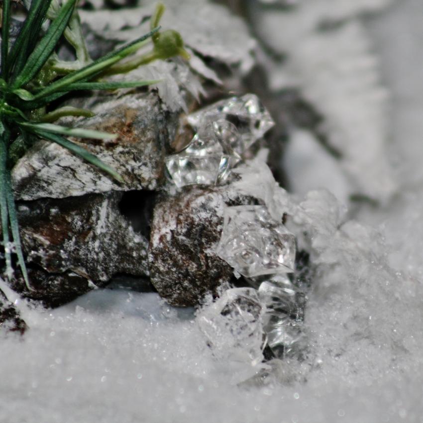Zimní dekorace na hrob, detail
